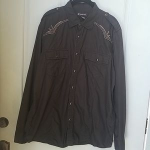 INC Embroidered Button-down Black Shirt